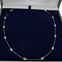 36 inch Long Diamond Station Necklace Strand 14k White Gold (6.00ct)