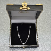 Diamond Station Necklace Bezel-Set in 14k White Gold (0.50 ctw)