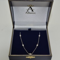 Diamond Station Necklace Bezel-Set in 14k White Gold (0.75 ctw)