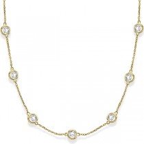 Diamond Station Necklace Bezel-Set in 14k Yellow Gold (6.00ct)