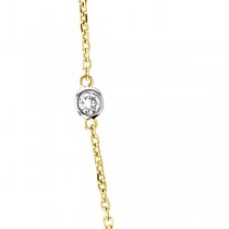 Diamond Station Necklace Bezel-Set in 14k Two Tone Gold (1.50 ctw)