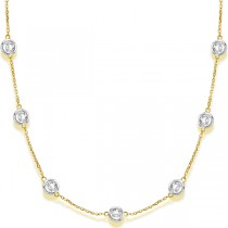 Diamond Station Necklace Bezel-Set in 14k Two Tone Gold (6.00ct)