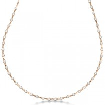 Diamond Station Eternity Necklace in 14k Rose Gold (4.01ct)