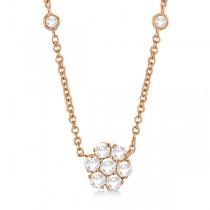 Flower Pendant Diamond Station Necklace 14k Rose Gold (1.00ct)