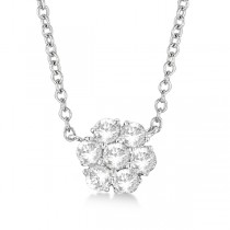Flower Pendant Diamond Station Necklace 14k White Gold (1.00ct)