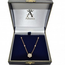 Flower Pendant Diamond Station Necklace 14k Yellow Gold (1.50ct)