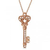 Diamond Fleur De Lis Key Pendant Necklace in 14k Rose Gold (0.25ct)