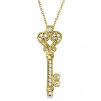 Diamond Fleur De Lis Key Pendant Necklace in 14k Yellow Gold (0.25ct)