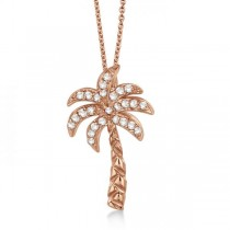 Palm Tree Shaped Diamond Pendant Necklace 14k Rose Gold (0.25ct)