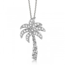 Palm Tree Shaped Diamond Pendant Necklace 18k White Gold (0.25ct)