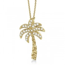Palm Tree Shaped Diamond Pendant Necklace 14k Yellow Gold (0.25ct)