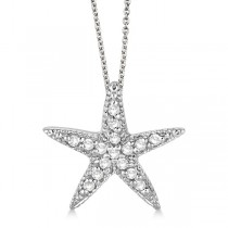 Starfish Shaped Diamond Pendant Necklace 14k White Gold (0.20ct)