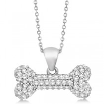 Pave Diamond Dog Bone Pendant Necklace 14K White Gold (0.80ct)