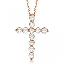 Diamond Cross Pendant Necklace in 14k Rose Gold (1.01ct)