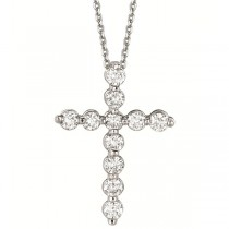 Diamond Cross Pendant Necklace in 18k White Gold (1.01ct)
