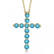 Fancy Blue Diamond Cross Pendant Necklace 14k Yellow Gold (1.01ct)