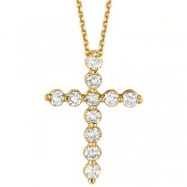 Diamond Cross Pendant Necklace in 18k Yellow Gold (1.01ct)
