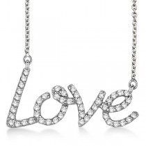 """Love"" Diamond Pendant Necklace 14k White Gold (0.50ct)"