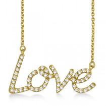 """Love"" Diamond Pendant Necklace 14k Yellow Gold (0.50ct)"