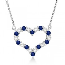 Open Heart Diamond & Sapphire Pendant Necklace 14k White Gold (0.65ct)