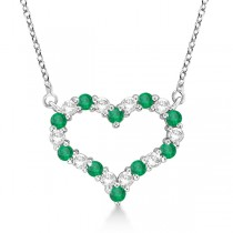 Open Heart Diamond & Emerald Pendant Necklace 14k White Gold (0.63ct)