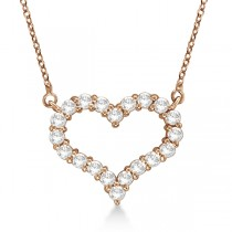 Open Heart Diamond Pendant Necklace 14k Rose Gold (0.50ct)