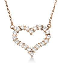 Open Heart Diamond Pendant Necklace 14k Rose Gold (1.00ct)