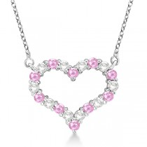 Open Heart Diamond & Pink Sapphire Necklace 14k White Gold (1.30ct)