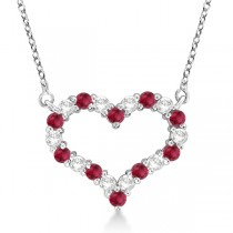 Open Heart Diamond & Ruby Pendant Necklace 14k White Gold (1.30ct)