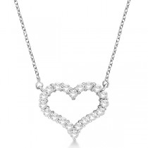 Open Heart Diamond Pendant Necklace 14k White Gold (1.00ct)