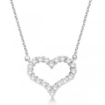 Open Heart Diamond Pendant Necklace 14k White Gold (2.00ct)