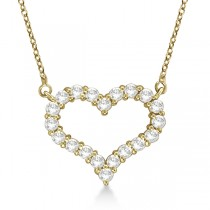 Open Heart Diamond Pendant Necklace 14k Yellow Gold (0.50ct)