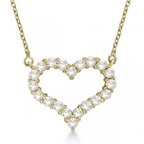 Open Heart Diamond Pendant Necklace 14k Yellow Gold (1.00ct)