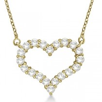 Open Heart Diamond Pendant Necklace 14k Yellow Gold (2.00ct)