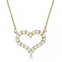 Open Heart Diamond Pendant Necklace 14k Yellow Gold (3.10ct)