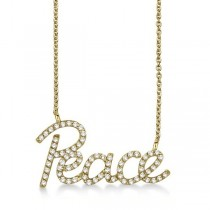 """Peace"" Diamond Pendant Necklace 14k Yellow Gold (0.50ct)"