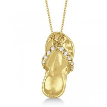 Flip Flop Shaped Diamond Pendant Necklace 14k Yellow Gold (0.15ct)