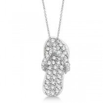 Diamond Flip Flop Pendant Necklace 14k White Gold (0.50ct)