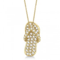 Diamond Flip Flop Pendant Necklace 14k Yellow Gold (0.50ct)