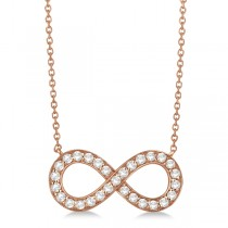 Pave Diamond Infinity Twist Pendant Necklace 14k Rose Gold (1.02ct)