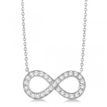 Pave Diamond Infinity Twist Pendant Necklace 14k White Gold (1.02ct)