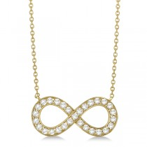 Pave Diamond Infinity Twist Pendant Necklace 14k Yellow Gold (1.02ct)