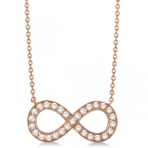 Pave Diamond Infinity Twist Pendant Necklace 14k Rose Gold (0.37ct)
