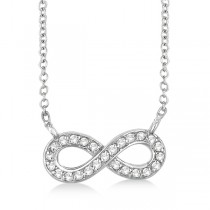 Pave-Set Diamond Infinity Pendant Necklace 14K White Gold (0.20ct)