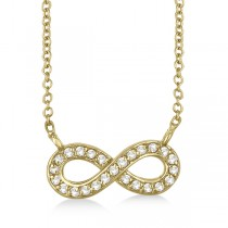 Pave-Set Diamond Infinity Pendant Necklace 14K Yellow Gold (0.20ct)