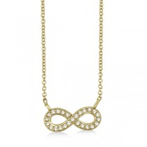 Pave-Set Diamond Infinity Pendant Necklace 14K Yellow Gold (0.20ct)