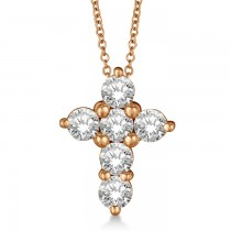 Prong Set Round Diamond Cross Pendant Necklace 14k Rose Gold (1.05ct)