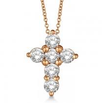 Prong Set Round Diamond Cross Pendant Necklace 14k Rose Gold (1.05ct)