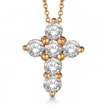 Prong Set Round Diamond Cross Pendant Necklace 14k Rose Gold (1.50ct)