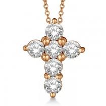 Prong Set Round Diamond Cross Pendant Necklace 14k Rose Gold (1.50ct)